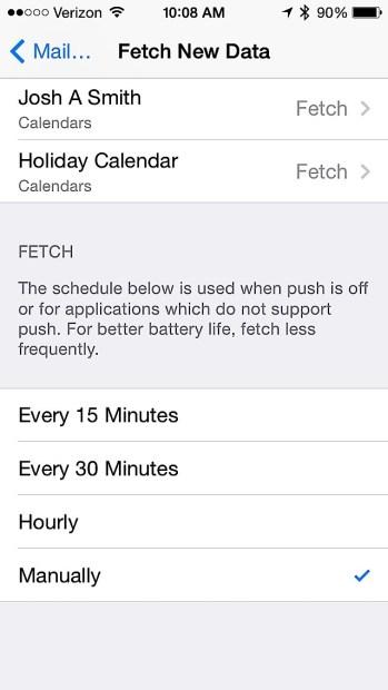 Check email less often for better battery life.
