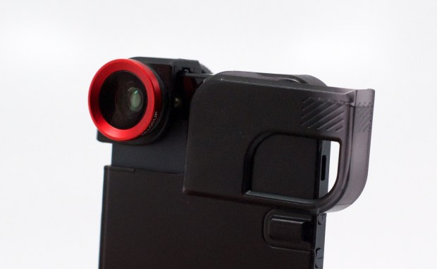 This slip on iPhone 5 lens includes a case with a tripod mount.