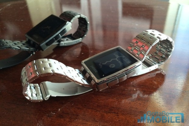The Pebble Steel is available in two colors and includes a leather band.