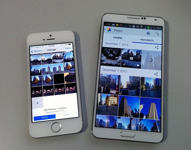 The iPhone 5s shown next to a Galaxy Note 3 offers perspective to what a 5.5-inch iPhone 6 could look like.