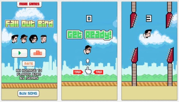 Play Fall Out Bird, the official Fall Out Boy Flappy Bird game.