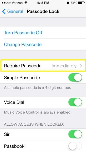 Tap Require Passcode