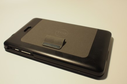 The Dell Venue 8 Pro keyboard magnetically attached to the cover case. The two pieces ship together in this optional accessory package.