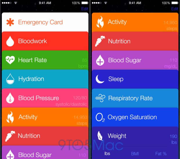 This Healthbook mockup shows what Apple's app may look like in iOS 8.