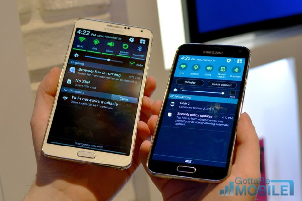 Samsung Galaxy S5 vs Galaxy Note 3 - 7-L