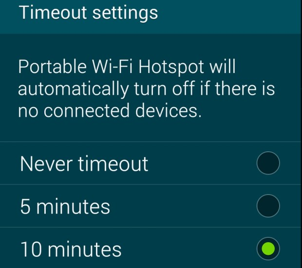 Set the timeout to 5 or 10 minutes for better battery life.