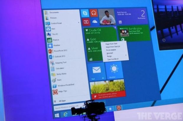A picture of the upcoming Start Menu from The Verge.