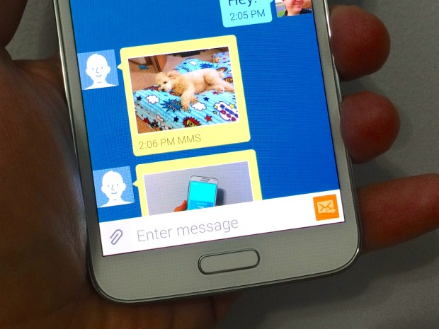 Here's how to save a photo on the Galaxy S5 that you get as a text message.