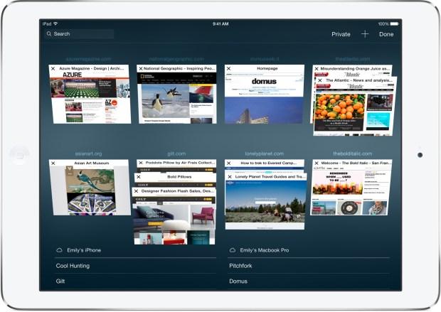 iOS 8 Features - Safari Tabs iPad
