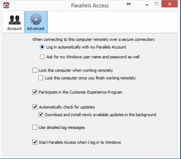 parallels access desktop app settings