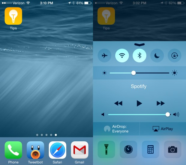 iOS 8 beta 4 adds a new IOS 8 Tips app and a new look for Control Center.