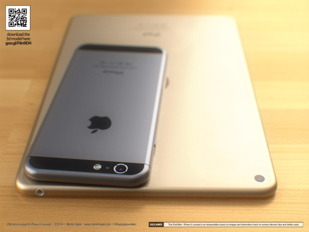 An iPhone 6 concept sits atop a gold iPad Mini 3 concept.