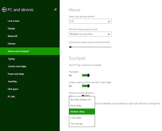 touchpad settings surface pro 3