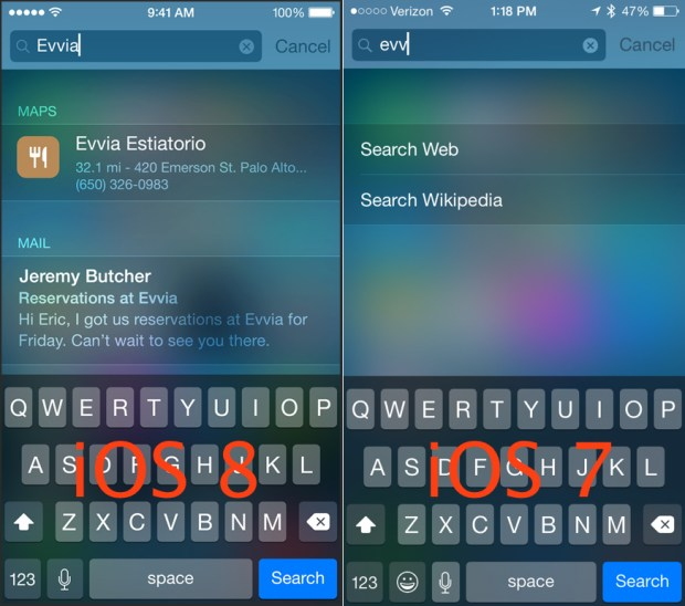 iOS 8 vs iOS 7 Walkthrough - Spotlight