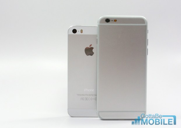 The iPhone 6 design includes more metal than the iPhone 5s and iPhone 5.