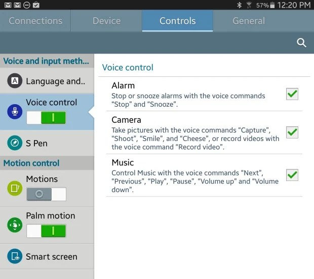 voice control settings
