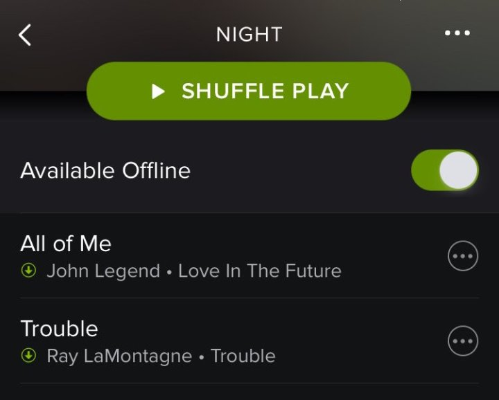 Save a playlist for playback offline.