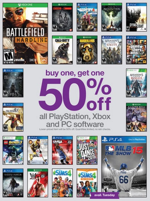 There are also plenty of Buy one get one 50% off deals that include MLB 15 The Show.