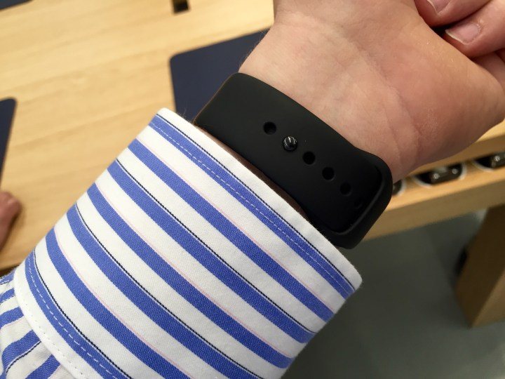 The Apple Watch Sport band is a challenge to put on at first, but it feels great.