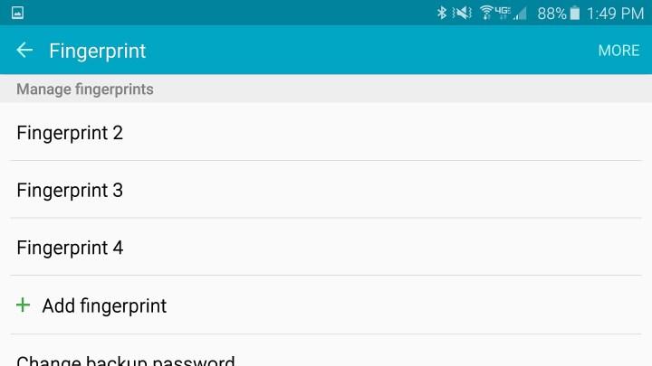 Set up the Galaxy S6 fingerprint reader.