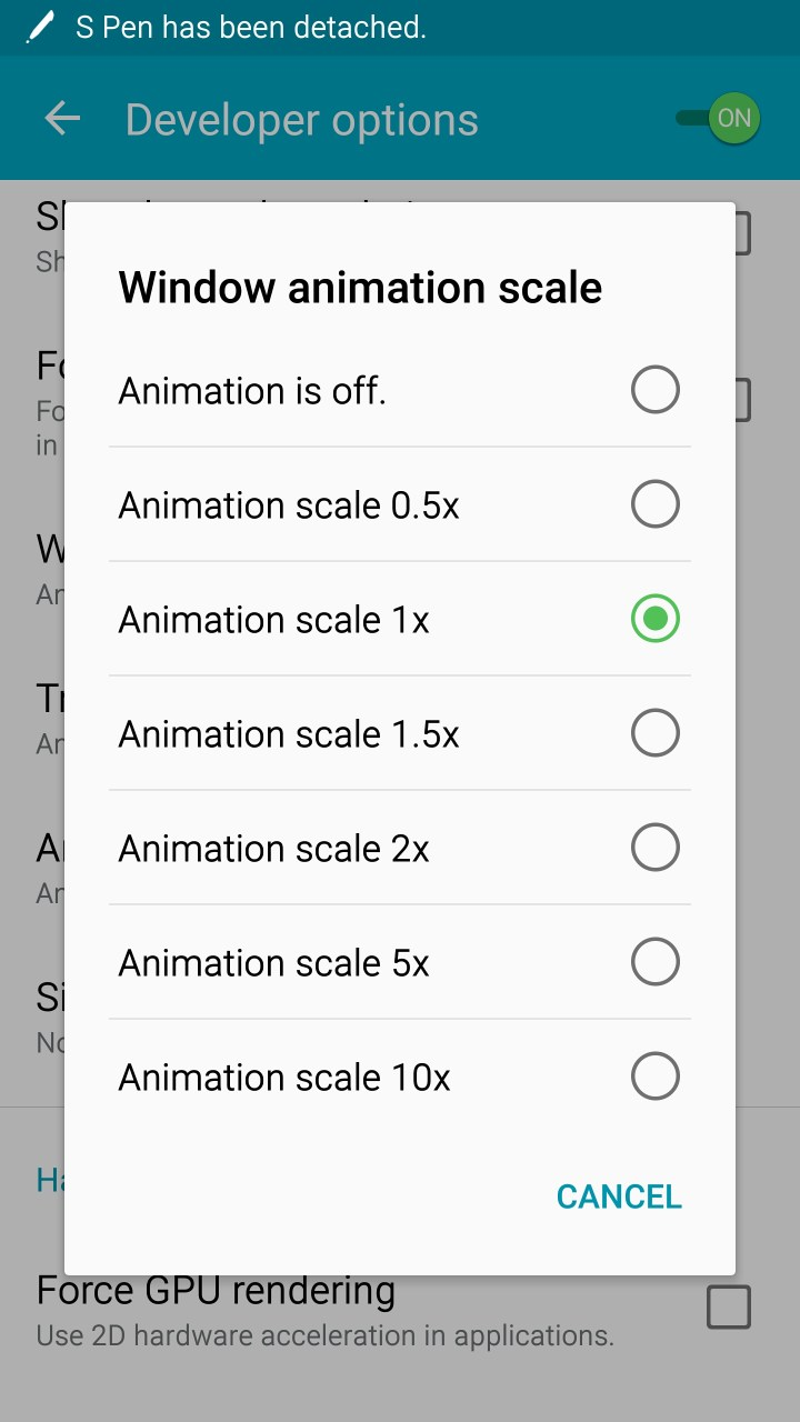 window anaimation scale options on samsung galaxy note 4