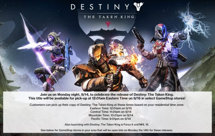 Find out when your local GameStop opens for the midnight Destiny: The Taken King release date events.