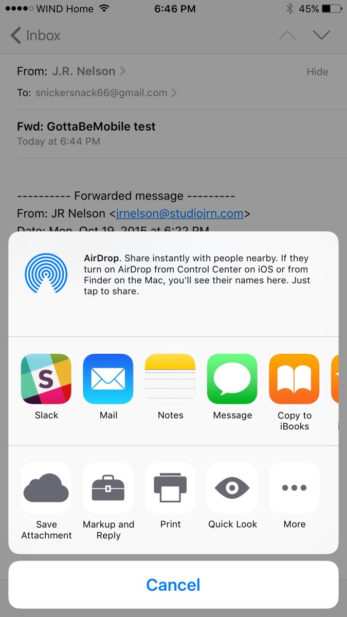how to send attachment in iphone email