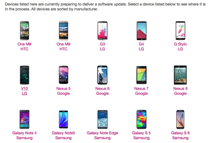 List of T-Mobile Marshmallow updates