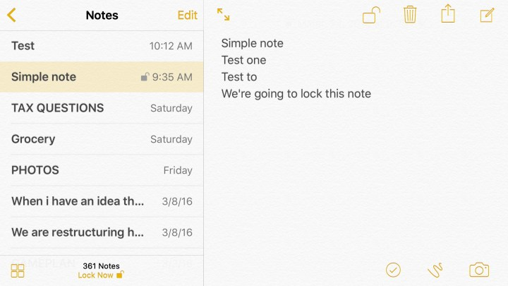 Choose to lock notes on iPhone or iPad or leave unlocked.