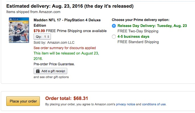 Save 20% on Madden 17 at Amazon.