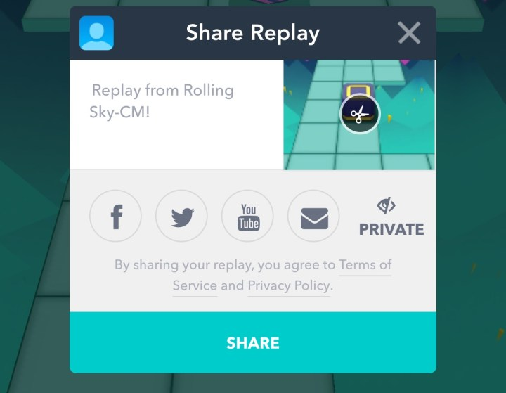 You can record and share your Rolling Sky gameplay.