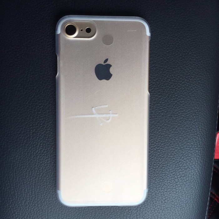 This may be the back of the iPhone 7 showing a larger camera area, new antenna lines and a second speaker.