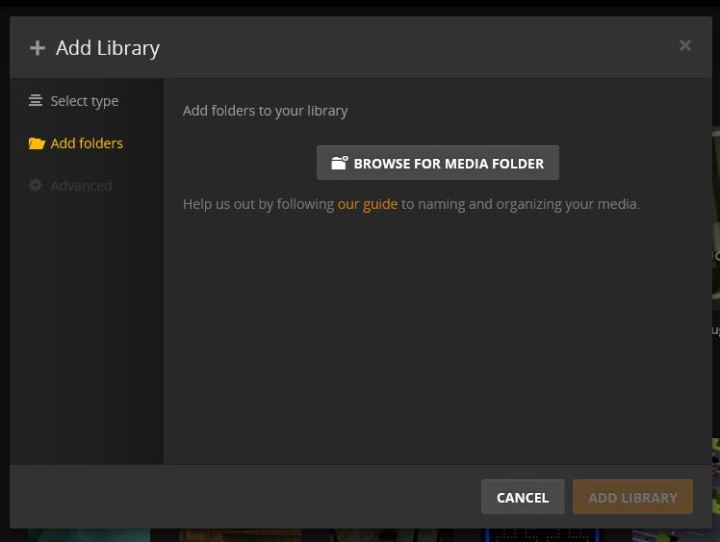 browse for media folders on plex