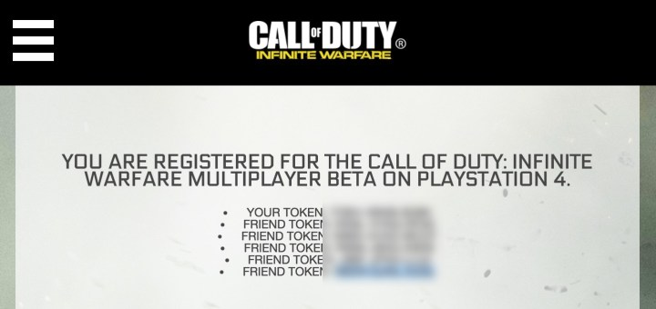 Find your PS4 & Xbox One Infinite Warfare beta tokens.