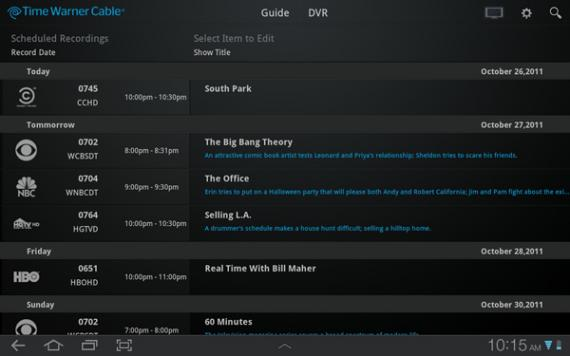 Time Warner Cable Android tablet DVR screencap