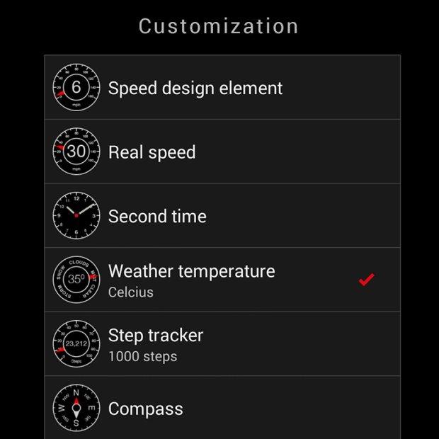 speed watch face pro settings