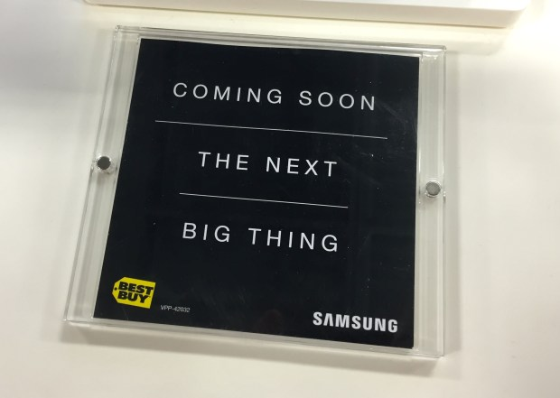 "Best Buy teases the Galaxy S6 release date as ""coming soon"", in stores."