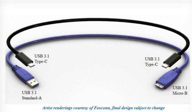 A reversible USB Type C cable rendering.