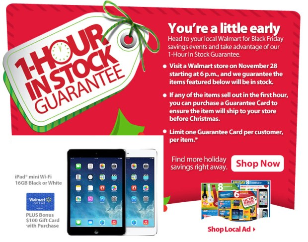 Count on Walmart Black Friday 2014 1-Hour guaranteed in stock deals.