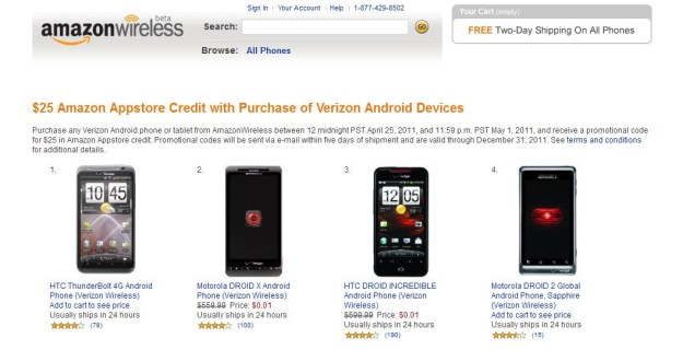 Amazon and Verizon Android Offer