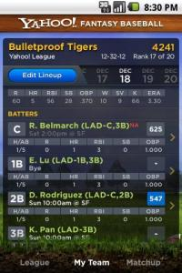 Yahoo! Fantasy Baseball App for Android