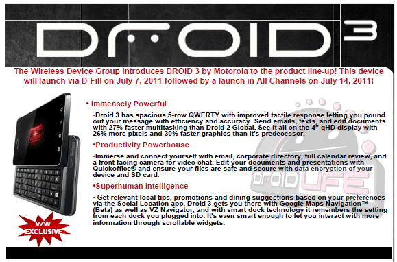 Motorola Droid 3 Release Date