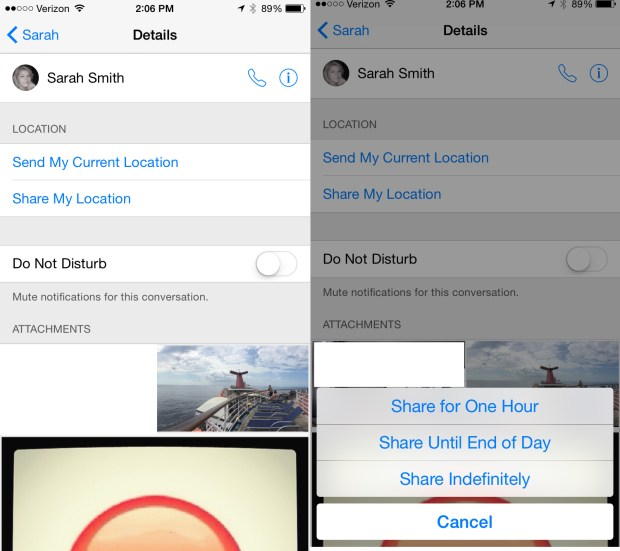 Use iMessage to share your location for a short time, or indefinitely.