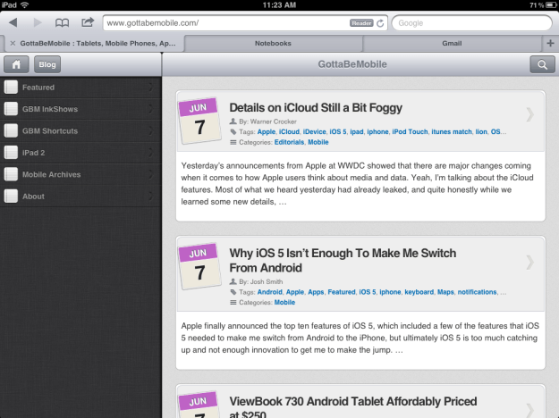 iPad iOS 5 Tabbed Browsing