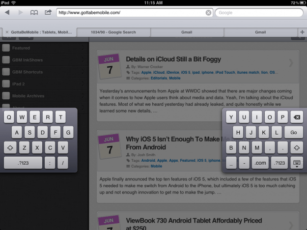 iPad iOS 5 split keyboard