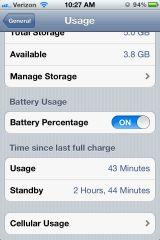 iPhone 4S Settings - Battery Percentage