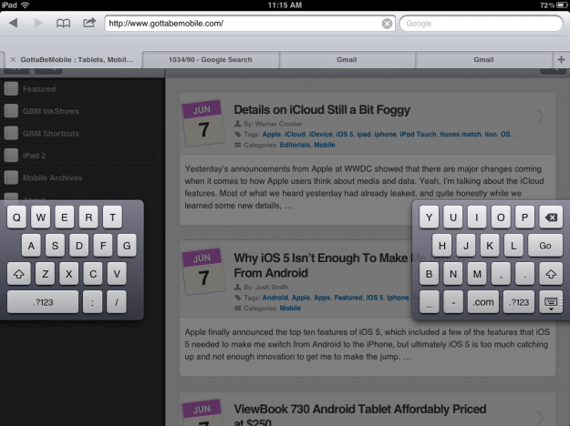 iPad Split Thumb keyboard