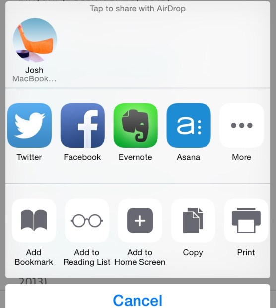 Quickly share to your favorite apps in iOS 8.