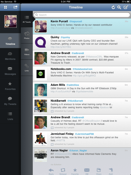TweetCaster Tweets
