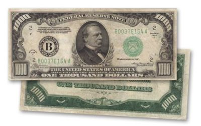 1934 US 1000 Dollar Federal Reserve Note Very Fine VF Bill | GovMint.com